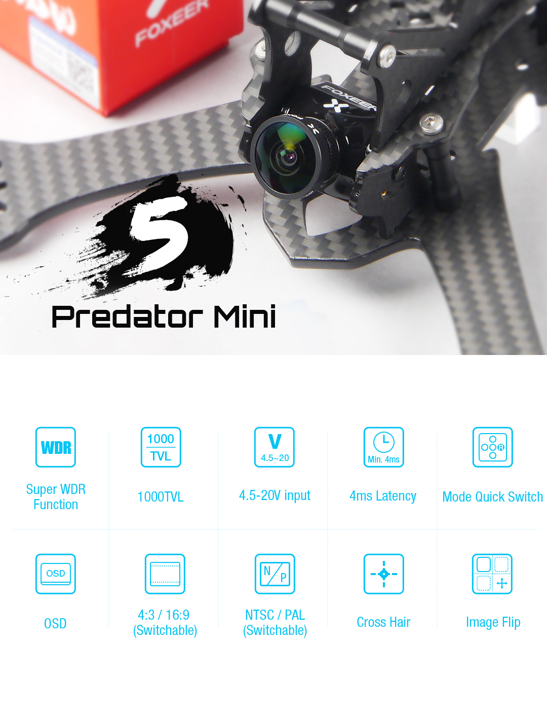 foxeer mini predator 5 racing fpv camera 4ms latency super wdr mantisfpv